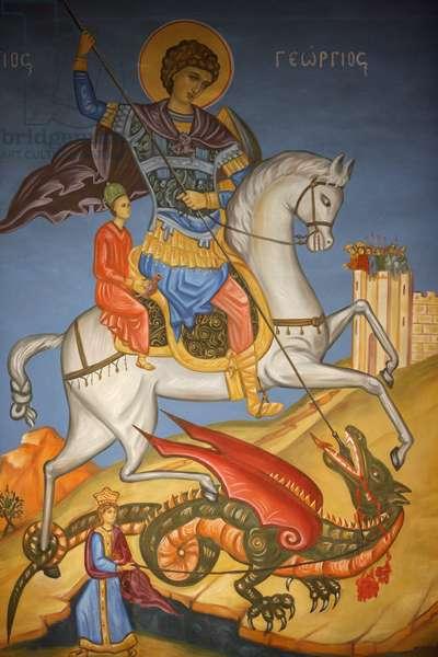 Greek orthodox icon depicting Saint George slaying a dragon in St George's orthodox church, Madaba , Madaba, Jordanie
