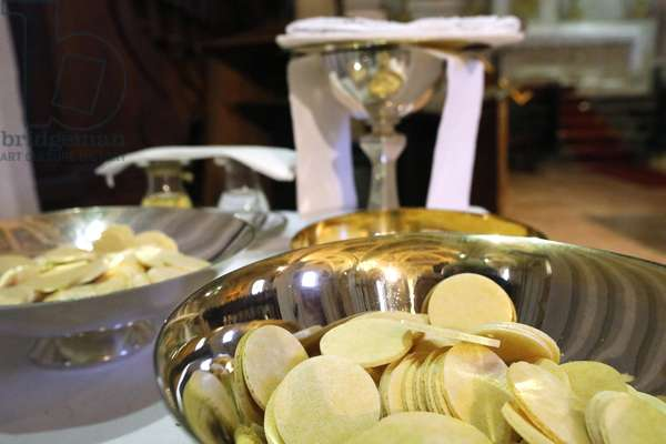 Catholic mass in church. Eucharist table. Sallanches. France.
