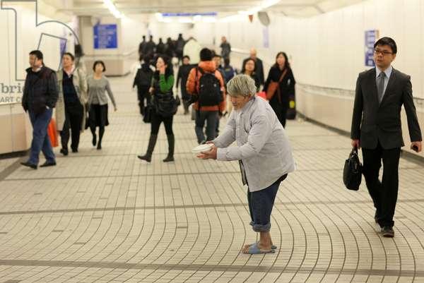 Pedestrian tunnel connecting MTR train stations in Hong Kong. Hong Kong China