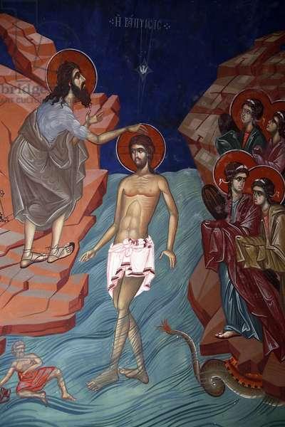 Kykkos monastery, Cyprus. Jesus's baptism fresco, 20150510, Pedoulas, Cyprus