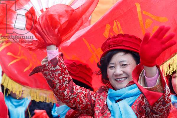France, Ile-de-France, Paris : Chinese New Year, Women wearing red, the chinese colour for good luck