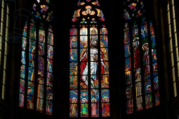 Saint Vitus's Cathedral stained glass Prague Czech Republic