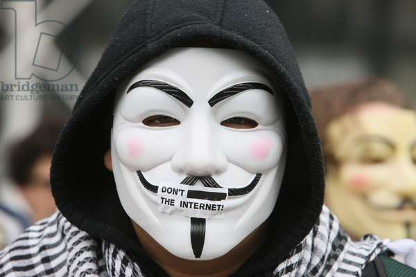Protester wearing a Guy Fawkes mask , trademark of the Anonymous movement and based on a character in the film V for Vendetta ; Paris France