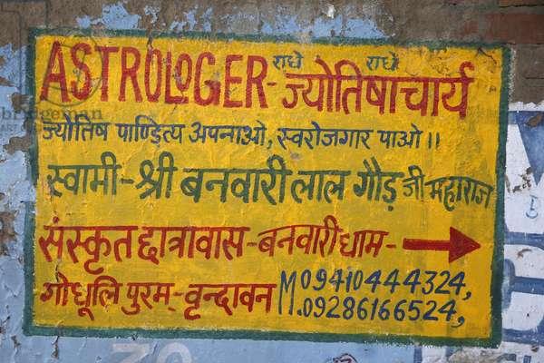 Astrologer's sign in Vrindavan, Uttar Pradesh. India