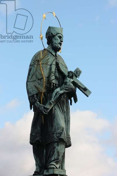 John of Nepomuk Statue on Charles bridge ; Prague Czech Republic
