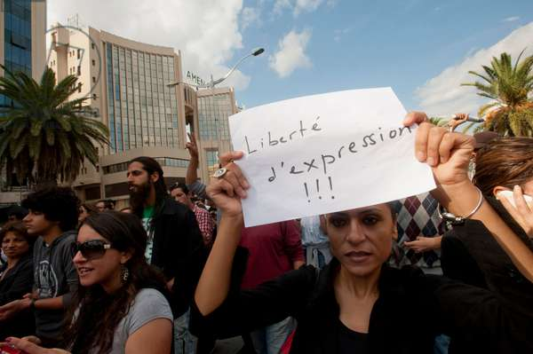 Demonstration for the freedom of speech, against islamist in Tunis., Tunis, Tunisie