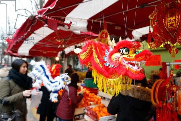 France, Ile-de-France, Paris : Chinese New Year, Decorations, Dragon