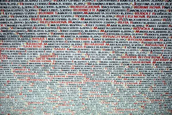 Pinkas synagogue ; Memorial to the 80,000 Jewish Victims of the Holocaust from Bohemia and Moravia ; Wall of names ; Prague Czech Republic