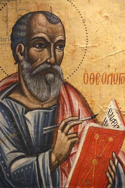 Icon in Pedoulas Byzantine museum : Saint John theologian (17th century), 20150510, Pedoulas, Cyprus