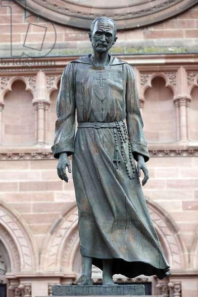 Saint-Pierre le Jeune Catholic Church. Charles de Foucauld statue. Strasbourg. France.