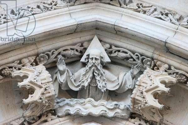 Church of Saint Peter and Saint Paul ; God sculpture Prague Czech Republic