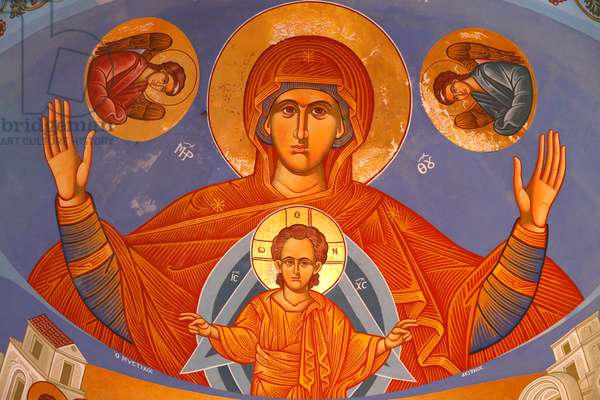 Chancel ceiling fresco in Pedoulas Orthodox church. Virgin and Child, 20150510, Pedoulas, Cyprus