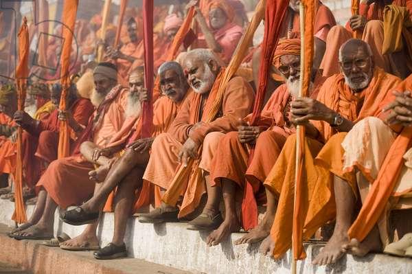 Sadhus gathered for Shivaratri festival in Varanasi , Varanasi, Inde