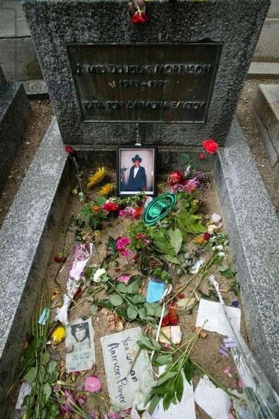 Jim Morrison's grave at Pere Lachaise graveyard, Paris, France