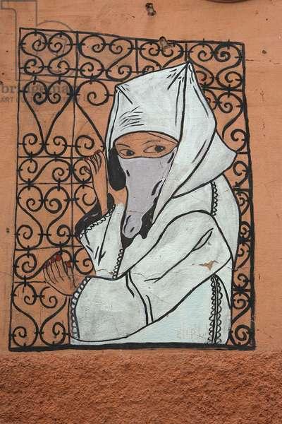 Wall painting, Marrakech, Maroc