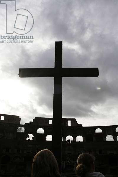 Cross on the Colosseum (Le Colisee) ROME ITALIE