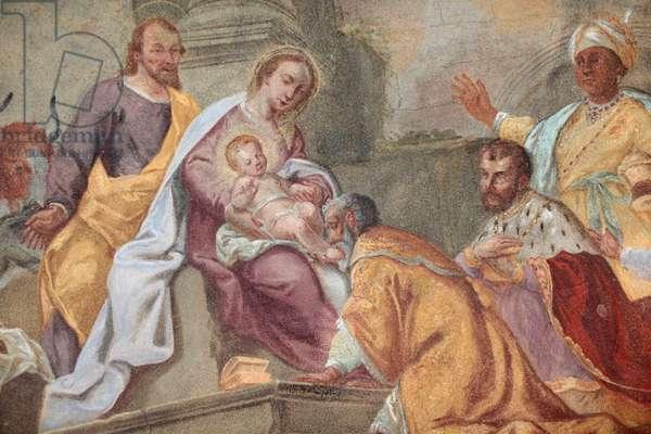 Loreto church ; Jesus and magi fresco Prague Czech Republic