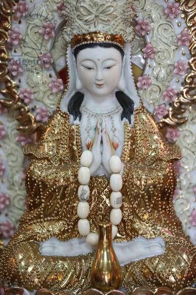 Leong San buddhist temple. Guan Yin Bodhisattva statue. Singapore