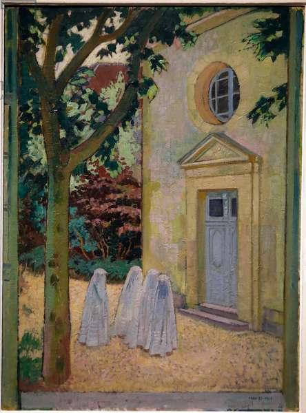 Les communiantes devant la chapelle du prieure (First holy communion) 1917 (oil on cardboard)