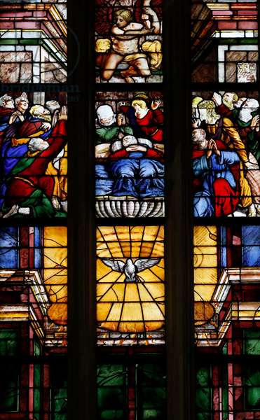 Milan Cathedral. Stained glass window. Dormition of the Virgin and Holy Spirit. Italy.