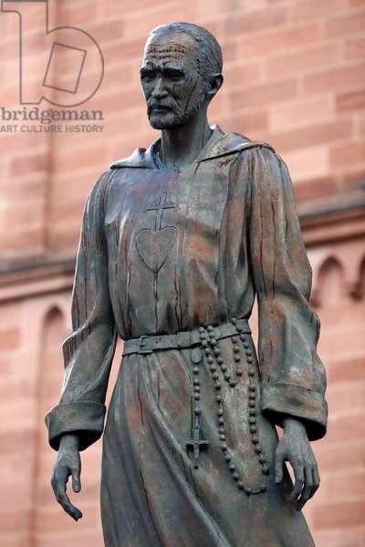 Saint-Pierre le Jeune Catholic Church,  Charles de Foucauld statue,  Strasbourg, France. (photo)