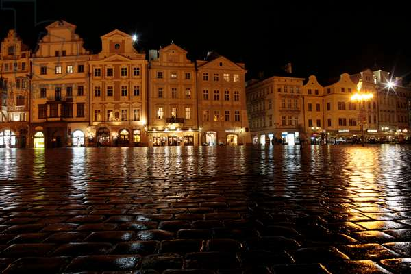 Old town square at night ; Prague Czech Republic
