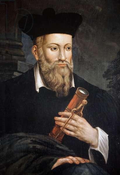 Portrait de Michel de Nostre-Dame (Nostre Dame), dit Nostradamus, astrologue (1503-1566), detail, Maison de Nostradamus, Salon de Provence, Bouches du Rhone