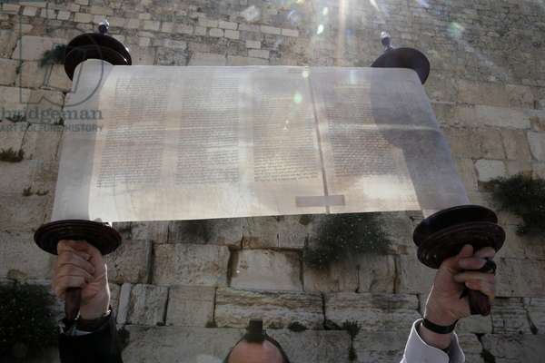 A ceremonial reading of the Torah under the Western Wall, Torah scroll., Jerusalem, Israel