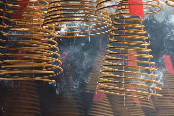 Kun Iam Temple. Incense coils. Macau China