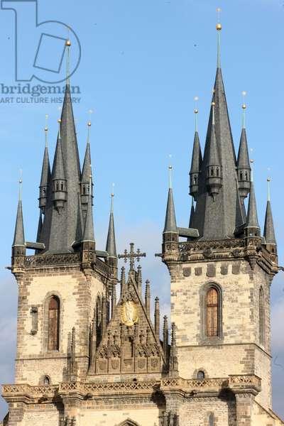 Tyn Church on Old Town Square ; Prague Czech Republic