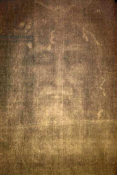 Detail of Shroud of Turin (saint suaire) in Chiesa della SS Annunziata church, Turin, Italy
