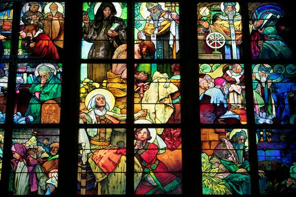 Saint Vitus's Cathedral ; Stained Glass of Saint Cyril and Methodius by Alfons Mucha ; Prague Czech Republic