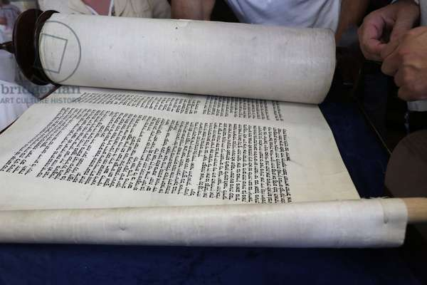 Launch of a new Torah in a synagogue, Paris, France