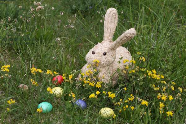 Easter eggs and rabbit. Saint-Gervais France