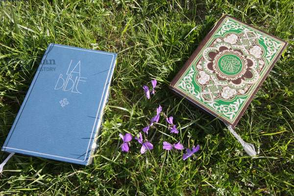 France, Haute-Savoie, Saint-Gervais-les-Bains : The Bible and the Koran on the grass