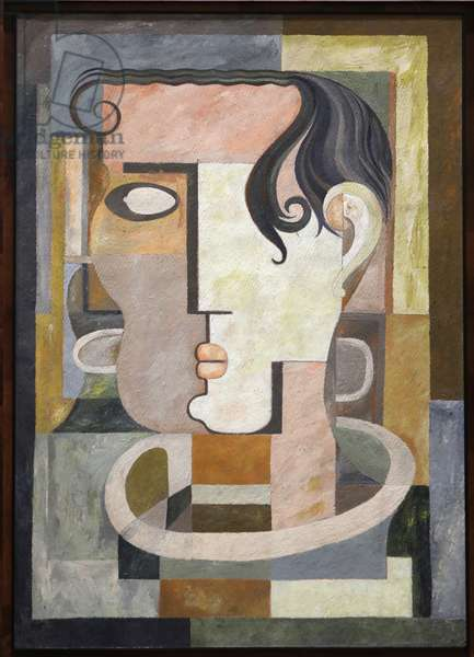 Cubist head, 1948 (oil on fibracel)