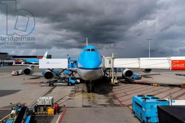 Amsterdam Airport Schiphol, KLM Boeing 747, Amsterdam, Netherlands, 2019 (photo)