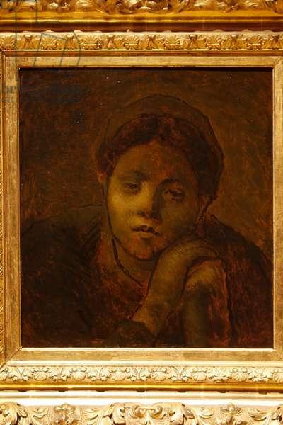 Tête de paysanne, étude, 1872 (oil on wood)