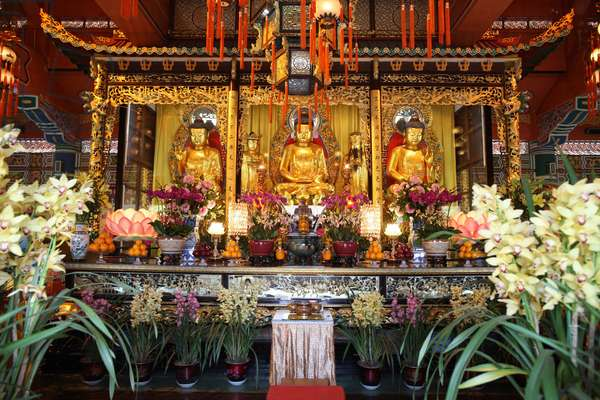 Po Lin Monastery. Buddha statues in main Hall. Tung Chung China