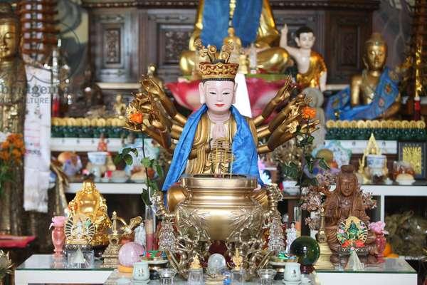 France, Haute-Savoie, Bonneville : Buddha statue, 1000 arms, Tu An Buddhist temple