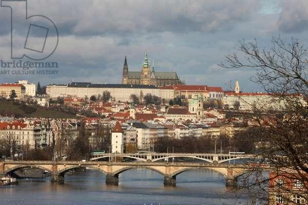 Saint Vitus Cathedral, Prague CaSaintle, and Vltava River ; Prague Czech Republic