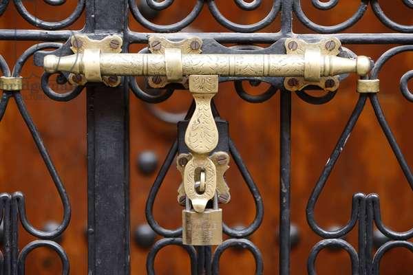 Locker on a door, Marrakech, Morocco
