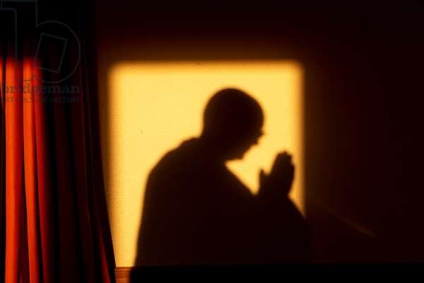 Zen sesshin (retreat) at La Trappe abbey, Soligny-la-Trappe, France.  Shadow. (photo)
