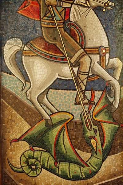 Coptic icon : dragon slain by Saint George Le Caire Egypte