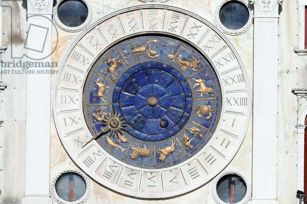 Clock Tower Zodiac Signs Saint Mark's Square. Clock created in 1499. Venice. Italy.  (photo)