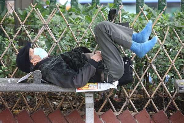 Gymnastics in a park. Hong Kong China
