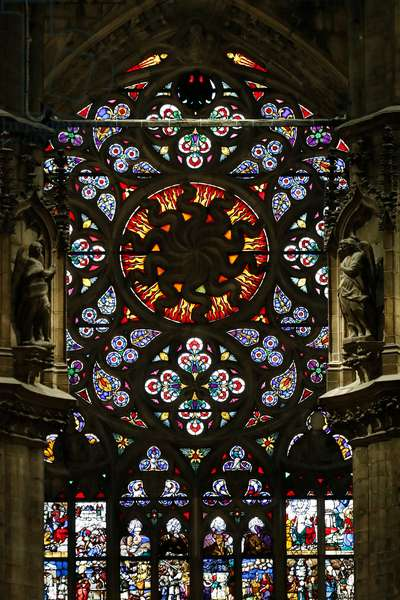 Milan Cathedral. Stained glass window. Choir. Italy.