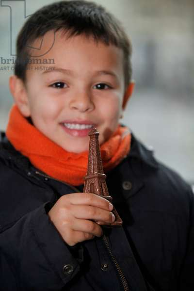 6-year-old boy with a chocolate Eiffel tower Montrouge france