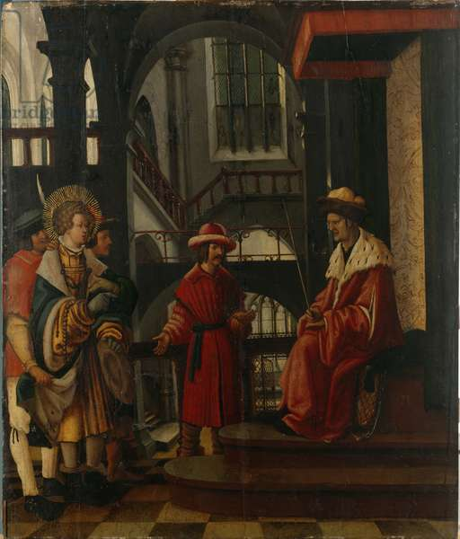 St. Florian's Performance in front of the Governor, c.1520 (oil on panel)