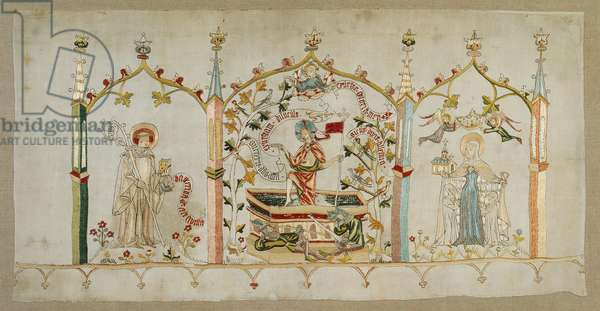 Altar banner depicting the resurrection of Christ and saints Bernhard and Elisabeth, from Mittelrhein, c.1430 (linen with silk embroidery)
